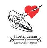Cráneo del unicornio con el corazón Imagen de archivo libre de regalías