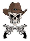 Cráneo del vaquero en un sombrero occidental y un par de armas cruzados stock de ilustración