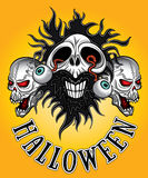 Cráneo del zombi de Halloween con los ojos que vienen hacia fuera diseño Imagenes de archivo