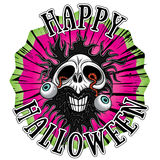 Cráneo del zombi del horror de Halloween ilustración del vector