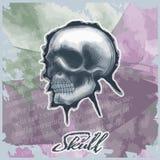 Cráneo dibujado en estilo de la acuarela ilustración del vector