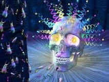 Cráneo e insectos psicodélicos Imagen de archivo