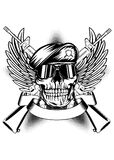 Cráneo en boina y dos armas automáticos stock de ilustración