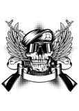 Cráneo en boina y dos armas del Kalashnikov stock de ilustración