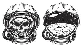 Cráneo en casco de espacio stock de ilustración