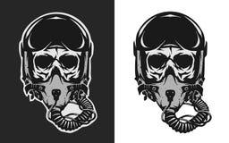 Cráneo en casco del piloto del combate Fotos de archivo