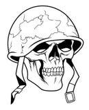 Cráneo en casco militar ilustración del vector