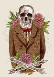Cráneo en chaqueta Imagen de archivo libre de regalías