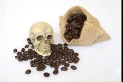 Cráneo en el café Imagen de archivo libre de regalías