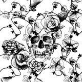 Cráneo en flores Foto de archivo libre de regalías