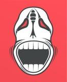 Cráneo en fondo rojo Imagen de archivo libre de regalías