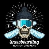 Cr?neo en gafas del esqu?, casquillo negro y snowboard cruzada Cr?neo de la historieta fotos de archivo