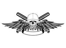 Cráneo en gorra de béisbol y alas Foto de archivo libre de regalías