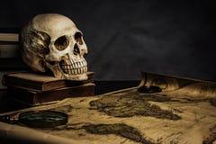 Cráneo en la tabla, aún vida Imagen de archivo libre de regalías
