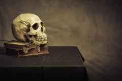 Cráneo en la tabla, aún vida Imágenes de archivo libres de regalías