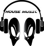 Cráneo en logotipo de la música de la casa Imagen de archivo