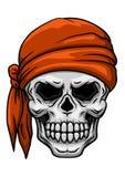 Cráneo en pañuelo anaranjado Fotografía de archivo libre de regalías