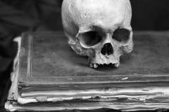Cráneo en un libro viejo Fotos de archivo libres de regalías