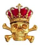Cráneo en una corona del oro stock de ilustración