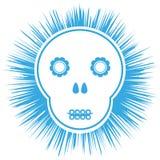 Cráneo esquemático cómico Flores, fondo negro del extracto libre illustration