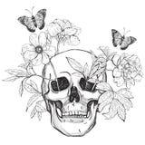 Cráneo, flores y mariposa ilustración del vector