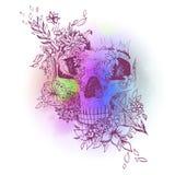 Cráneo gráfico abstracto, impresión ilustración del vector
