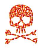 Cráneo hecho de píldoras de la cápsula Fotos de archivo libres de regalías