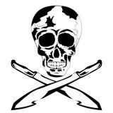 Cráneo humano blanco y negro con el machete Cráneo del tatuaje Fotos de archivo