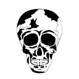 Cráneo humano blanco y negro Día del cráneo del tatuaje de los muertos ilustración del vector