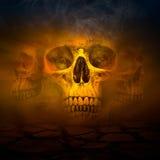 Cráneo humano con humo Foto de archivo libre de regalías
