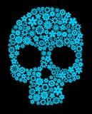 Cráneo humano con los elementos de la flor ilustración del vector