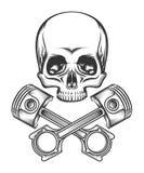 Cráneo humano con los pistones del motor stock de ilustración