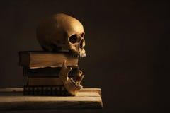 Cráneo humano con quijada en los libros viejos Foto de archivo