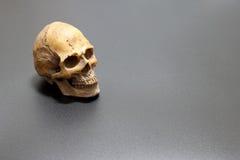 Cráneo humano en el fondo negro de la arena superficial, aún estilo de vida Fotos de archivo