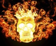 Cráneo humano en el fuego del infierno Imágenes de archivo libres de regalías