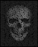 Cráneo humano en tipografía Cráneo compuesto de palabras: muerte, cara Fotos de archivo