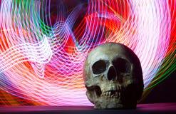 Cráneo humano en un fondo del LED Foto de archivo libre de regalías