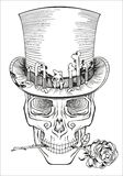 Cráneo humano en un sombrero de copa Imágenes de archivo libres de regalías
