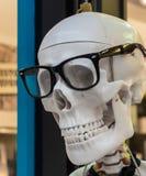 Cráneo humano en vidrios negros Foto de archivo