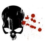 Cráneo humano y sangre ilustración del vector