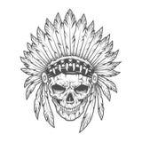 Cráneo indio con las plumas Arte del vector Imagenes de archivo