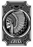 Cráneo indio del nativo americano principal en blanco y negro ilustración del vector