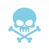 Cráneo lindo con los huesos miel, esqueleto principal azul bueno Logotipo, emb Foto de archivo libre de regalías