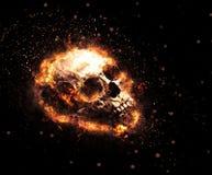 Cráneo llameante macabro imágenes de archivo libres de regalías