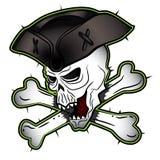Cráneo malvado de grito del pirata con el ejemplo del sombrero ilustración del vector
