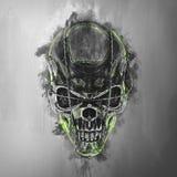 Cráneo malvado del demonio - alambre de la lengüeta ilustración del vector