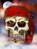 Cráneo malvado del pirata fotos de archivo