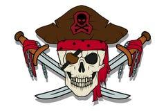 Cráneo malvado del pirata Rogelio alegre stock de ilustración