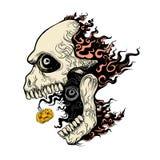 Cráneo malvado en fuego Imágenes de archivo libres de regalías