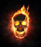 Cráneo malvado en llamas y humo stock de ilustración